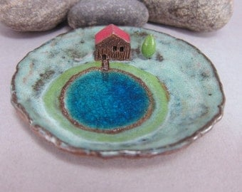 Sauna Cottage...Keepsake Dish in Stoneware with Recycled Glass