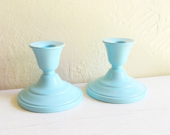 Beautiful Pair Blue Metal Candlesticks Candle Holders Matching