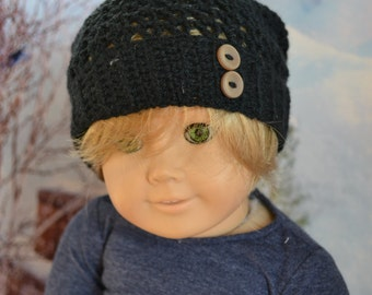 Doll Clothes - Boy or Girl Doll - Doll Beanie for 18 inch - Crocheted Slouch Beanie - Black - MADE TO ORDER - fits American Girl