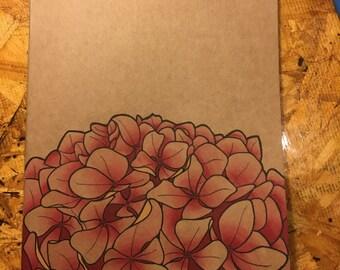 Hand Painted Hydrangea Kraft Journal