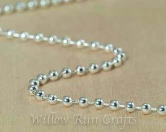 """50 Shiny Silver Plated Metal Ball Chain 2.4mm with Connectors , 24"""" Length. (15-40-262)"""