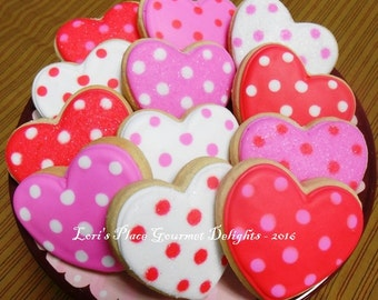 Heart Cookies - Valentines Day Cookies - 12 Cookies