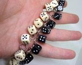 Double Dice Charm Bracelet - Vintage - Resin.