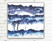 Blue Abstract Art Painting, 20x20 Canvas Wall Art Bedroom Decor, Modern Art Acrylic Painting - The Rain Whisperer