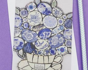 Blank Greetings Card, Floral Teacup