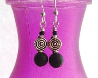 Celtic earrings, black, Irish Kilkenny marble. Made in Ireland. Dubh Linn