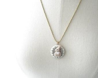 Bunny Rabbit Locket Necklace. Rabbit Necklace. Hand Painted Round Brass Locket. Rustic Wedding. Sweet & Shabby Vintage Woodland Necklace.