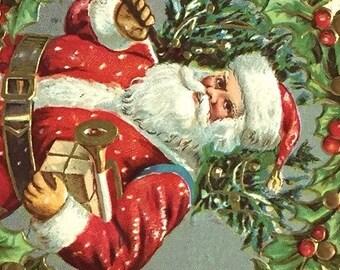 Vintage Christmas Postcard, Vintage Postcard, Santa Claus Postcard, Christmas Card, Christmas Ephemera, Carrying Christmas Tree, 1909