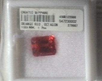 11x9mm Emerald Octagon Faceted  ~ PADPARADSHA SAPPHIRES / Orange Lab Sapphire ~ item # 42 & 45a ~  Corundum ~ FDK