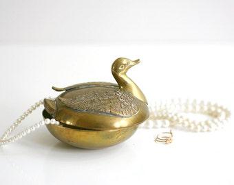Vintage Brass Swan Trinket Dish
