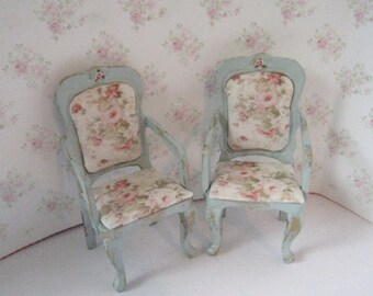 Dollhouse Chairs, two Tatty  Chic chairs.  duck egg blue, Rosebud chairs, twelfth scale,  Miniature chairs. Dining room