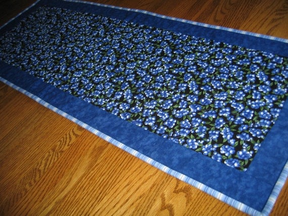 Quilted Table Runner with Blueberries