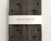 Triangle Towel : Charcoal Ground - Black Print
