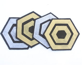 Set of (4) Hand-Painted Leather Coasters - Metallic Silver & Gold Paint on Dark Brown Leather