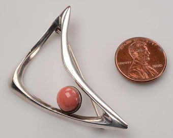 "Mid Century Modern Sterling, Pink Coral Brooch: Signed ""JUST A"" - Abstract Triangular Design - Fine Vintage Condition"