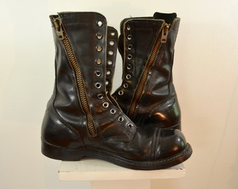 Vintage CORCORAN Zipper JUMP BOOTS sz. 10 black leather combat boots usa made