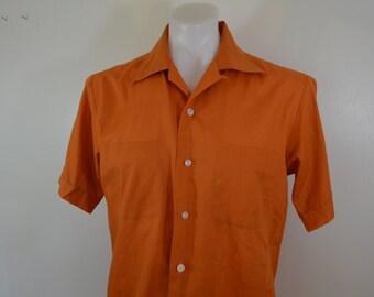 Vintage SHIRT box hem loop collar short sleeve ROCKABILLY dark orange medium