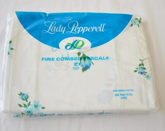 Vintage 1950's LADY PEPPERELL Single Twin Bed Fitted Sheet New in Package Deadstock Combed Cotton