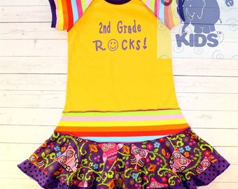 2nd grade rocks ....hand silk screened...recycled upcycled repurposed and pieced dress or tunic size 7/8
