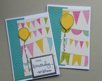 Set of 2 handmade cards - yellow balloons - birthday / thank you / congratulations - stampin up