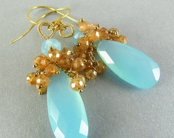 25% Off Summer Sale Aqua Chalcedony And Mystic Gold Quartz Cluster Earrings