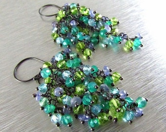 25% Off Summer Sale Apatite, Tanzanite, Onyx and Peridot Sterling Silver Cluster Earrings - Waterfall