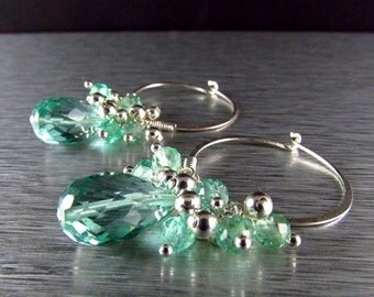 25% Off Summer Sale Aqua Quartz With Apatite Cluster Sterling Silver Hoop Earrings