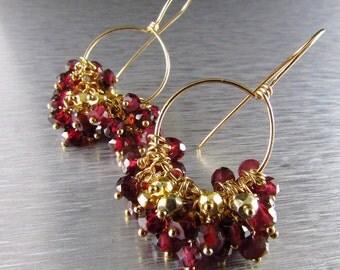 Rhodolite Garnet and Gold Filled Cluster Earrings