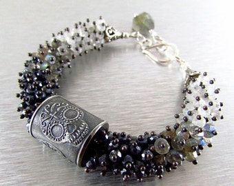 20 % Off Anne Choi Sugar Skull Wire Wrapped Bracelet, Spinel, Labradorite, Moonstone with Sterling Silver
