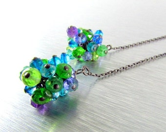20 % Off Colorful Gemstone With Oxidized Silver Threader Earrings
