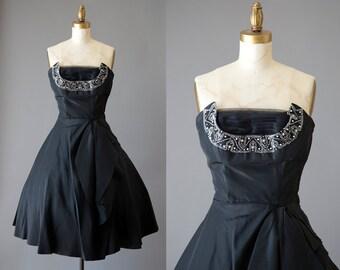 Savoy Nite Dress | vintage 1950s strapless cocktail dress | 50s tulle bead taffeta dress