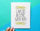 valentine card romantic anniversary card valentines day gift for him i am so in love with you quote card for her wedding day gift for bride