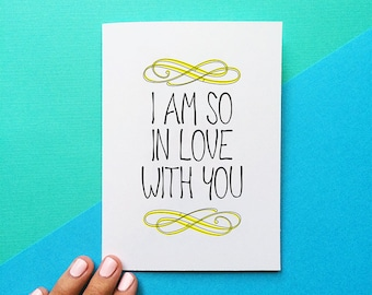 valentine card romantic anniversary card valentines day gift i am so in love with you quote card for her wedding day gift for husband