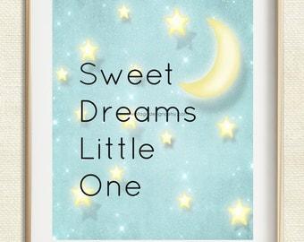 Sweet Dreams Printable, Nursery Wall Art, Nursery Decor, Baby Girl Nursery, Baby Boy Nursery, 8x10 Instant Download, Baby Gift, New Mom Gift