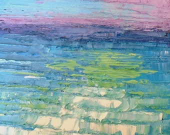 """8x8x1.5"""" Abstract Seascape Oil Painting, Tropical Colors, Textured, Turquoise, Green, No Frame Required"""