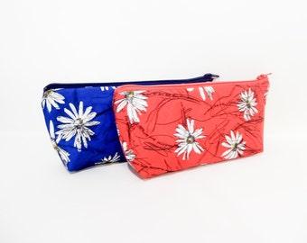 Floral Zipper Pouch, Fabric Zipper Pouch, Zipper Case, Pencil Case, Coin Purse, Pouch, Cosmetic Bag, Toiletry Case, Floral Zipper Case