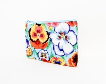 Pansy Pouch, Change Pouch, Zipper Pouch, Fabric Pouch, Fabric Zipper Pouch, Floral Pouch, Zipper Case, Kaffe Fasset Pouch, Flower Pouch