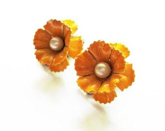 Enamel Flower Earrings Vintage Jewelry