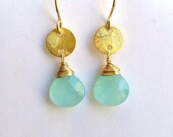 MOTHERS DAY SALE Aqua Gemstone Earrings Aqua Chalcedony Dangle Earrings Gold Filled Wire Wrap Minimalist Petite Earrings Bridesmaid Jewelry