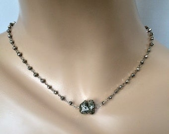 50% OFF SALE Pyrite Wire Wrap Necklace Glittery Pyrite Nugget Choker Silver Rosary Chain Pendant Necklace Metallic Necklace