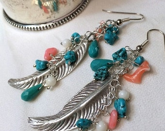 SUPER SALE 60% OFF Bohemian Long Feather Earring Wire Wrap Gemstone Sterling Silver Turquoise Long Dangle Feather Earrings Hippie Boho Chic
