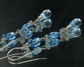 Swiss Blue Topaz Earrings Wire Wrapped Sterling Silver Long Blue Dangle Earrings, Blue Gemstone Jewelry December Birthstone