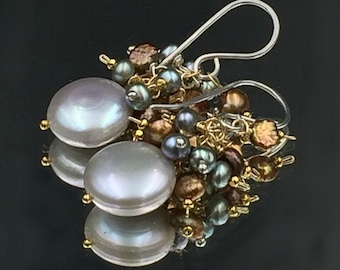 Silver Grey Coin Pearl Earrings Wire Wrap Bronze Grey Pearl Cluster Silver Gold Wedding Jewelry Bridesmaid Earring Beach Wedding Mixed Metal