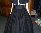 Civil War Mourning Dress all black Victorian Outfit Long drawstring Skirt and cape solid black cotton and  black Sash one size fit all