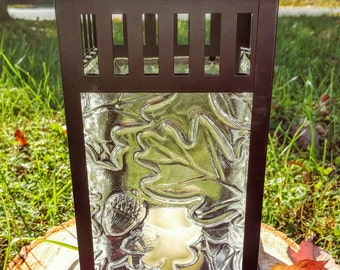 Indoor/Outdoor Lantern for block candle with Leaves and Acorns Textured Clear Fused Glass Panels