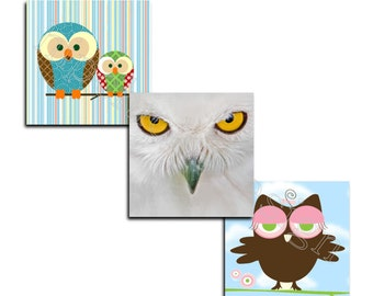 INSTANT DOWNLOAD - Owls 3-  Scrabble .75 x .83 Collage Sheet - Digital Collage Sheet