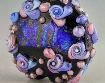 a pink purple and blue large lentil focal with patterned dichro and raised flowers handmade lampwork glass - Another World