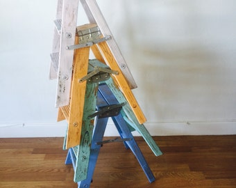 Vintage shabby chic CUSTOM COLOR ladder