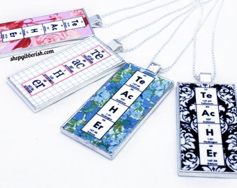 Chemistry Periodic Table Science Teacher Necklace - Floral and Damask - Personalized