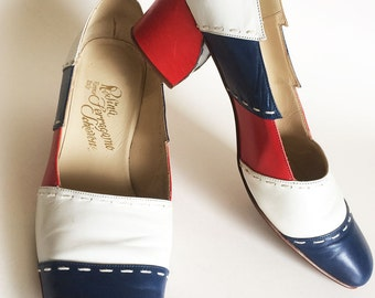 Vintage Rosina Ferragamo Schiavone Spectator Heels, Red White Blue Leather Hand Stitched Pumps